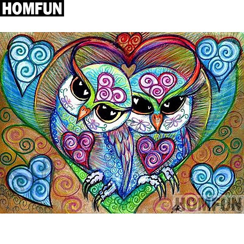 HOMFUN Full SquareRound Drill 5D DIY Diamond Painting Love owl Embroidery Cross Stitch 5D Home Decor Gift A03773