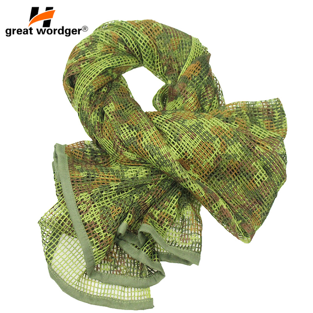 Outdoor Military Camouflage Tactical Mesh Breathable Scarf Sniper Face Veil Camping Hunting Multi Purpose Hiking Scarve