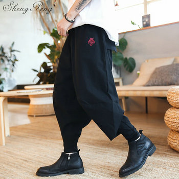 Chińskie spodnie bruce lee spodnie tradycyjna chińska odzież dla mężczyzn orientalna odzież shanghai tang odzież męska CC134 tanie i dobre opinie sheng peng CN (pochodzenie) Linen COTTON Sukno