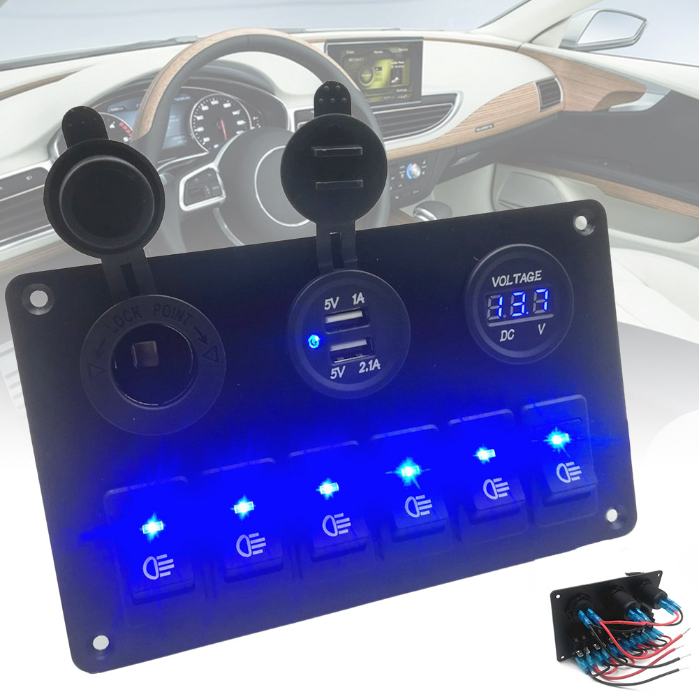 6 Way Switch Panel Fog Light Headlight Control Durable with USB Charger for Car M8617
