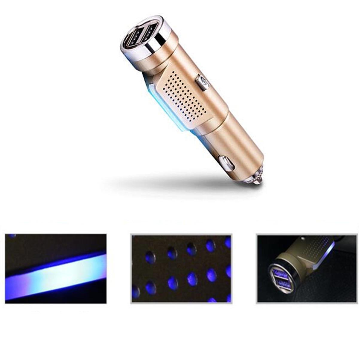2 in 1 gold dual usb car charger fresh oxygen ozone air purifier cigarette lighter 12 24 v in. Black Bedroom Furniture Sets. Home Design Ideas