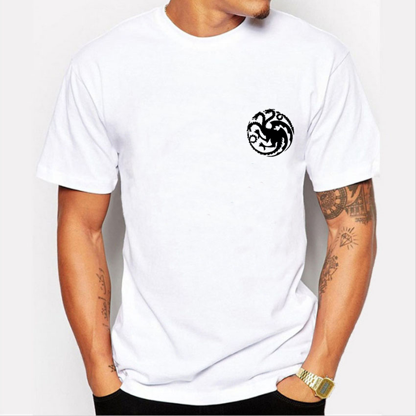 Fashion Game of Thrones Targaryen T shirt Men Simple Black Print Tee Shirt Casual Short Sleeve Tops Male tshirt men