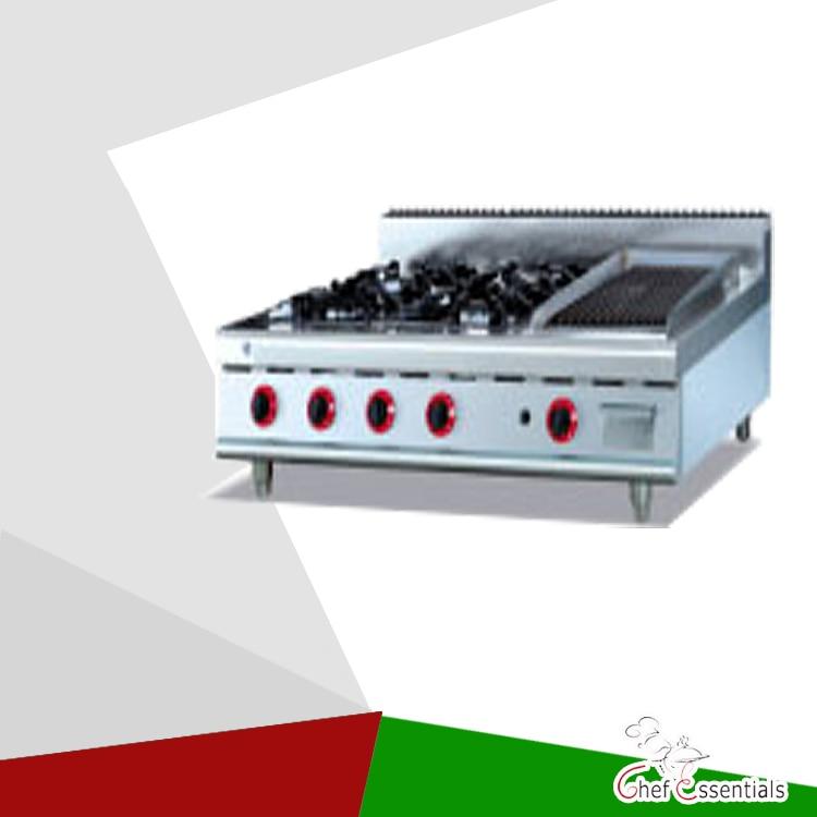 PKJG-GH799.1 4 Burner Gas Range With Ribble Griddle  for business kitchen gh987 gas range with 4 burner with cabinet