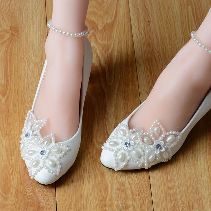 ba76353f87372 US $48.8 |Custom handmade women white lace wedding flats,lady/ladies bridal  prom ballet shoes,Size 4 5 6 7 8 9 10 11 12 Size 4~12.5-in Women's Flats ...
