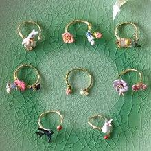 France  Les  Nereides  Enamel  Glaze  Trendy  Rabbit  Flower  Insect  Earring  Ring  Women  Jeweley  Sets
