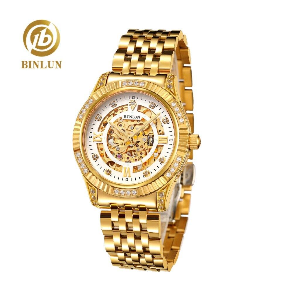 BINLUN montre automatique en or 18K pour hommes coque en diamant résistant aux rayures imperméable montres de luxe pour hommes en or squelette