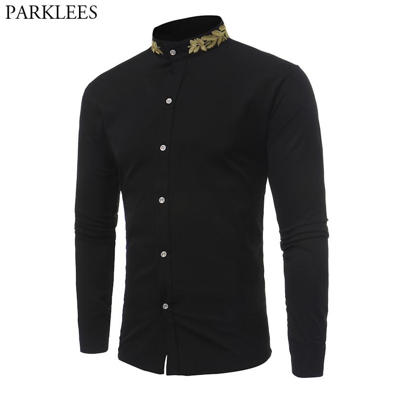 Stand Collar Men Shirt 2017 Brand New Gold Embroidery Men Shirt Long Sleeve Slim Fit Cotton Male Shirts Casual Mens Dress Shirts