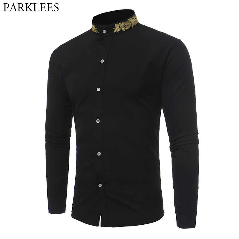 Stand Collar Men Shirt 2017 Brand New Gold Embroidery Men Shirt Long Sleeve Slim Fit Cotton Male Shirts Casual Mens Dress Shirts