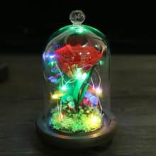 Preserved Rose Flower LED Strip Light Flashing Luminous with Glass Cover & Wooden Base Valentines'Day Wedding Gift(China)