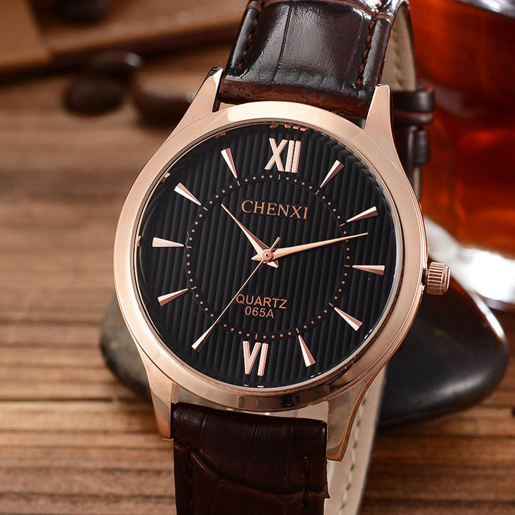 CHNEXI Gold Silver Black Brown Genuine Leather Quartz Shockproof Wristwatches Wrist Watch for Men Male 065A