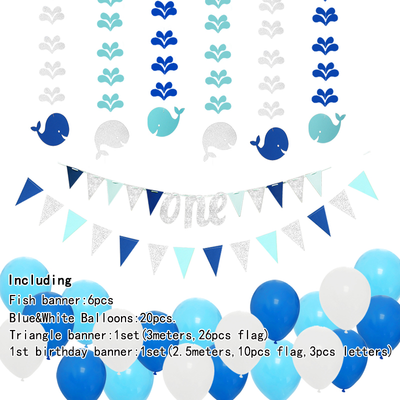 10pcs Under The Sea Theme Blue Party Decorations Kit Boy Birthday Circle Banner Garlands Bunting Paper Fan Flower Pom Poms Decoration//Event Celebration Hanging Decor for Baby Shower//Wedding//Kids Room