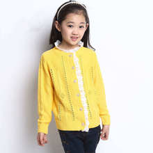 High-class kids designer children girl crochet knitwear casual style spring autumn child button sweater for girls