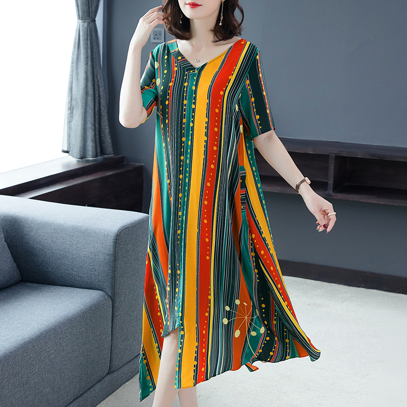 Stirped Flowing Silk Women Summer Plus Size Large Midi Robe Dresses High Quality 2019 Elegant Vintage Print Floral xxxl Clothing in Dresses from Women 39 s Clothing