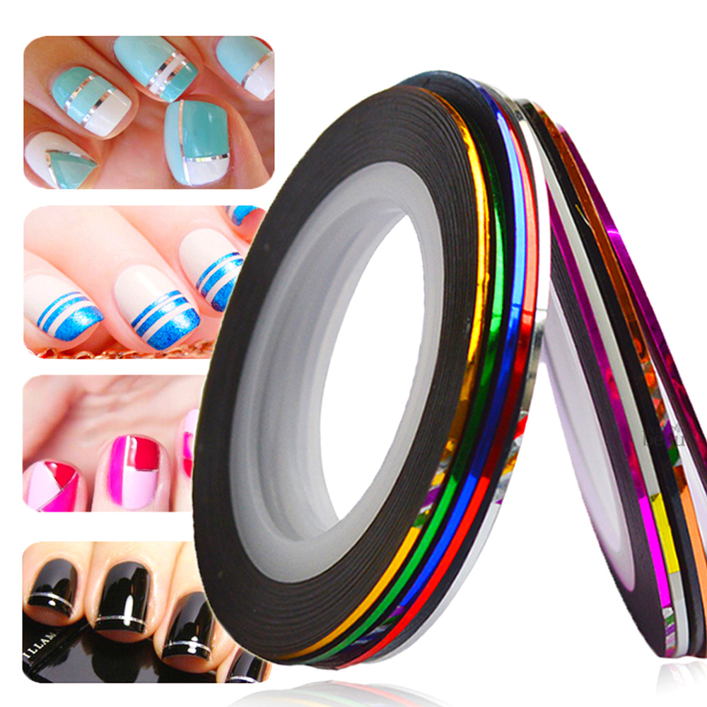 Nail Art Tape Strips: 1mm 10pcs/Lot Color Glitter Nail Striping Line Tape