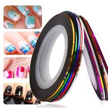 1mm 10pcs/Lot Color Glitter Nail Striping Line Tape Sticker Set Nail Art Decorations DIY Tips For Polish Gel Manicure NC391