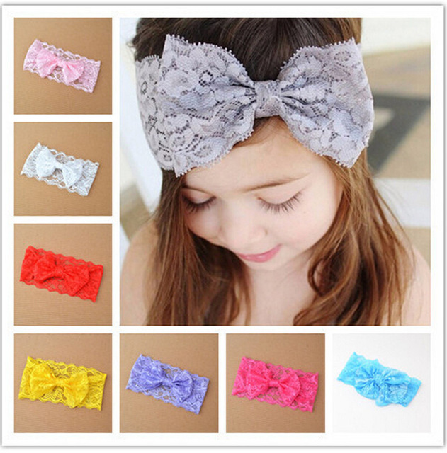 Lace baby headband Stretch Lace Bow Headband kids girls big hair bow head  wrap Photo Prop Hair Accessories 59e023965ce