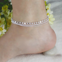 New Arrival Chic Women's 4 Layers Crystal Beads Sandal Beach Anklet Ankle Chain Foot Jewelry Accessories Jason0333