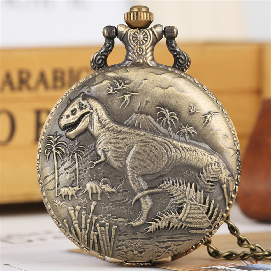 Bronze Dinosaur Display Necklace Quartz Pocket Watch Top Gift Pendant Clock For Kids Men Women Cool Retro Chain Dropshipping
