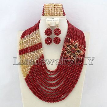 Nigerian Wedding African Beads Rushed Classic Women Crystal Jewelry Sets New Arrived Nigeria Set Necklace Africa Beads  HD4984