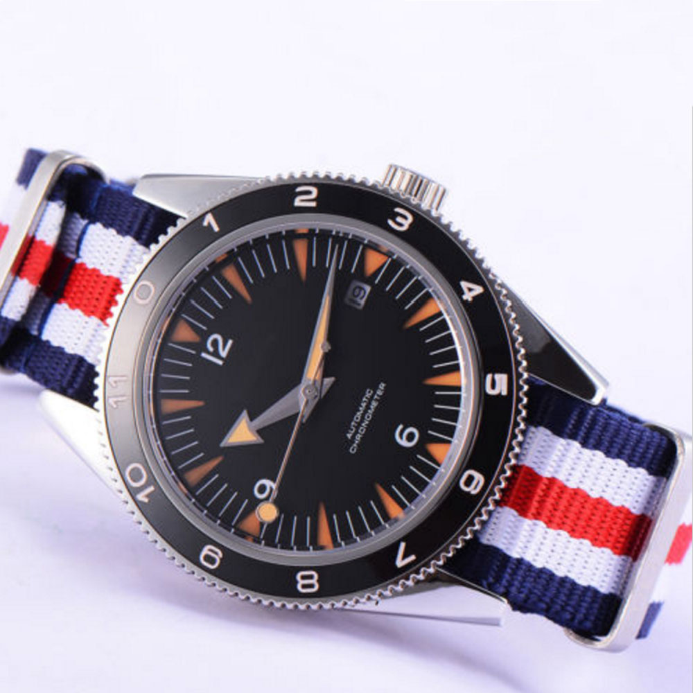 41mm debert black sterile sandwich dial Sapphire Glass miyota nylon Automatic mens Watch цена и фото