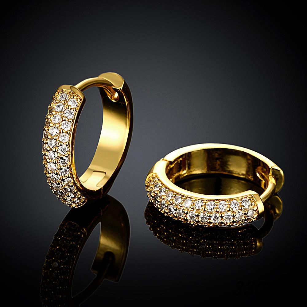 Small Gold Plated Hoop Earring Cubic Zirconia Womens Gold