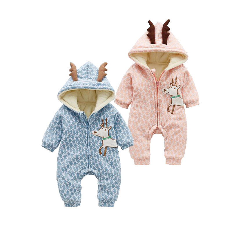 Unisex Baby Cute Goat Costumes Winter Double Layers Thicken Fleece Baby   Rompers   Aniaml Shaped Jumpsuits for New Born Baby   Romper