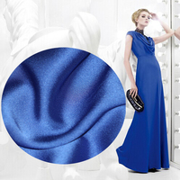 Bright Colors And Meticulous Blue Satin Satin Jacket And Trousers Linen Cloth Fashion Fabric