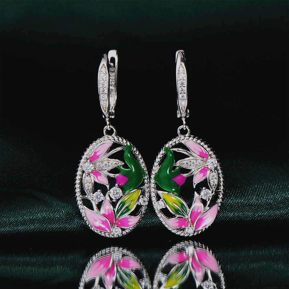 RainMarch 925 Sterling Silver Earrings Enamel Handmade Flower Engagement Earring For Women Cubic Zirconia Party Jewelry colorful cubic zirconia hoop earring fashion jewelry for women multi color stone aaa cz circle hoop earrings for party jewelry