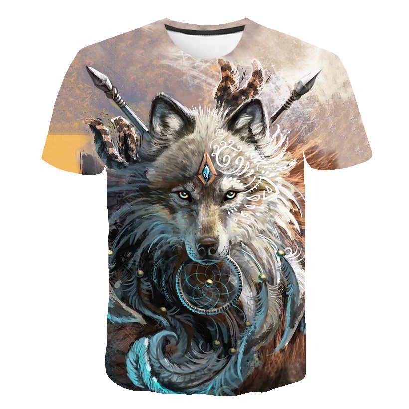 1c3a01421 ... New Fashion Men/Women 3d T-shirt lion Print Digital Color wolf Summer  Tops ...