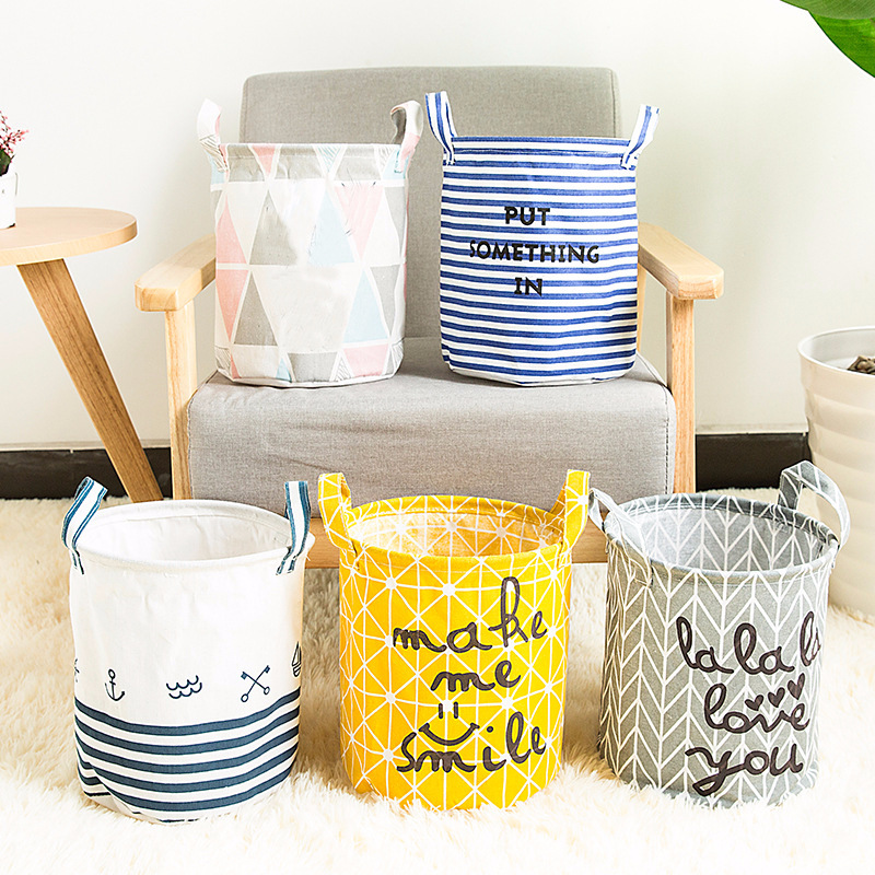 Picnic Basket Stand Laundry Basket Toy Storage Box Small Bag 23x23x27cm Cotton Washing Dirty Clothes Basket Bin Cloth Handle
