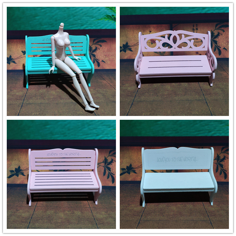 17 cm Length Wooden Park Bench for Barbie Doll Miniature furnitures for Blythe Chair for BJD 1/6 Classic Girl Toy Accessories