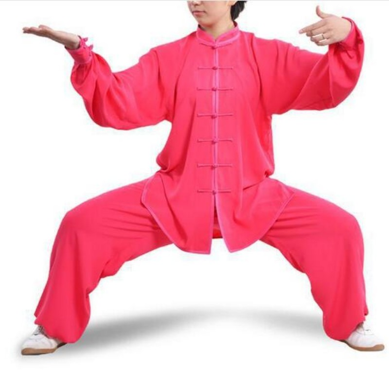 Plus Size New Chinese Style Pure Color Long Sleeve Tai Chi Kung Fu Suits Wu Shu Uniform Spring Martial Arts Sets For Women Cloth