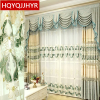 European Luxury Villa Blue Embroidery Semi Shade Decorative Curtains For Living Room Classic High Quality Curtains