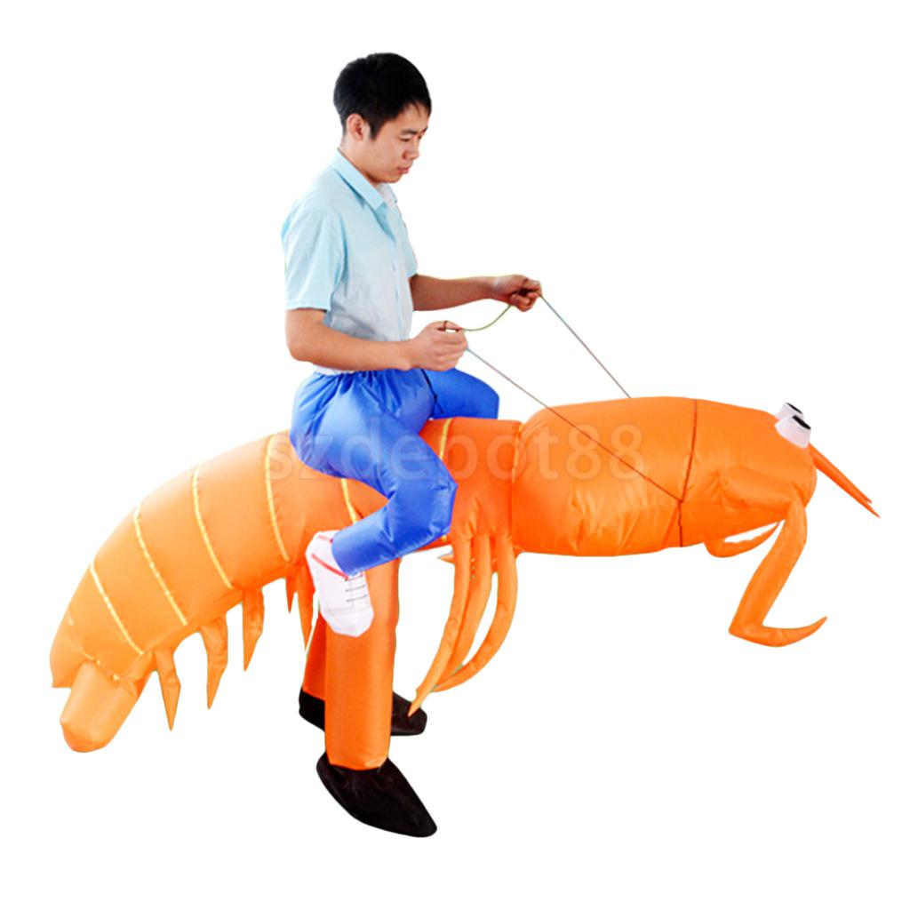 New Hot sale Inflatable Lobster Costume Big funny Mantis Shrimp Rider Halloween Christmas Fancy Dress Gift Favors-in Holidays Costumes from Novelty & Special Use