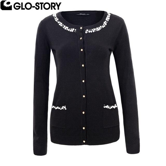 GLO STORY Women Pearl Breading Autumn Cardigan Sweaters Woman O ...