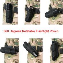 Tático 360 graus rotativo lanterna bolsa coldre tocha caso para cinto tocha capa caça iluminação acessórios