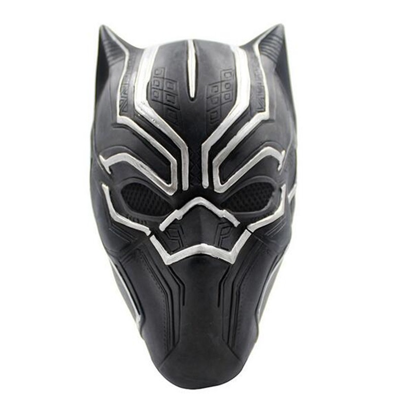 2018 3D Solid Black Panther Masks Men's Cosplay Party Full Mask America Civil War Roles Cosplay Latex Mask Helmet Costume