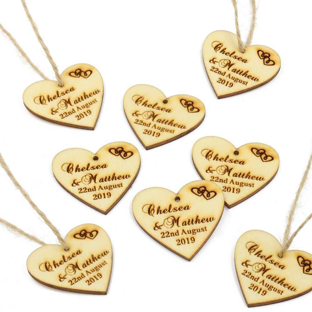 50 pcs personalized engraved wooden love heart tags twine wine charm custom wood gift labels rustic