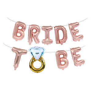 Wedding Bridal Shower 16inch Gold Silver Bride To Be Letter Foil Balloons Diamond Ring Balloon for Hen Party Favors Decoration,B(China)
