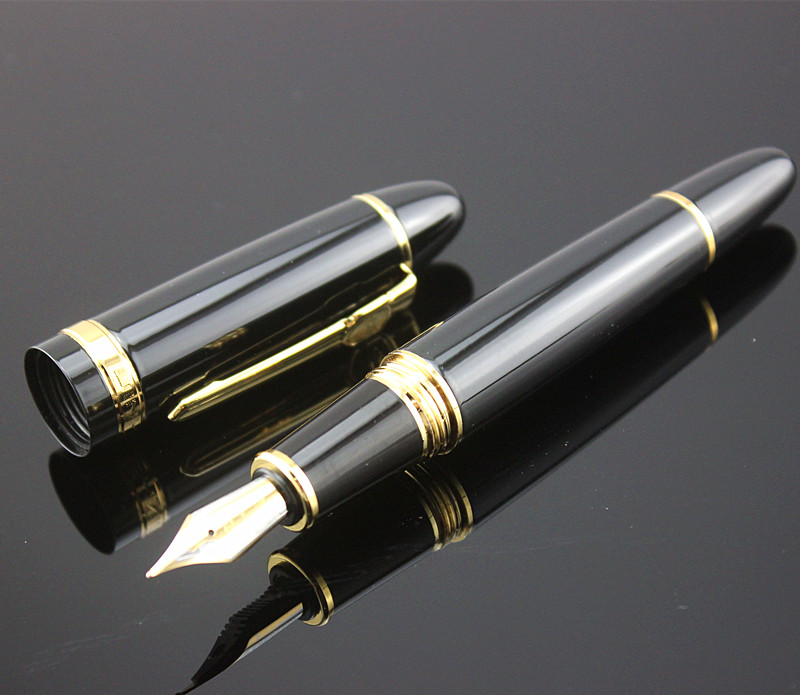 New Jinhao 159 Black And Golden 0.7 mm Nib Fountain Pen Ink Converter and box Ink select Gifts Writing pen sketches in pen and ink