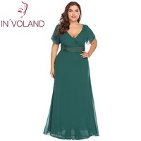 IN VOLAND Large Size L 5XL Women Party Lace Dress Elegant Short Sleeve Full Lace Maxi