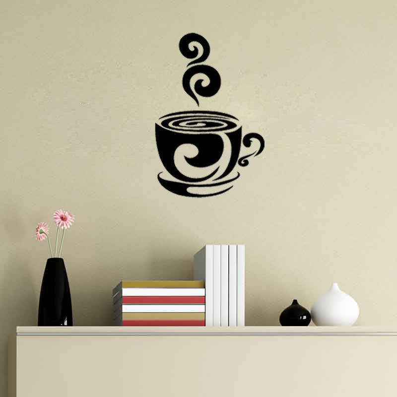 Swirl Coffee Cup Cafe Vinyl Wall Art Decal Stickers Kitchen Decor Removable Art  Decor Decal Quote Sticker Mural Inspiration In Wall Stickers From Home ...