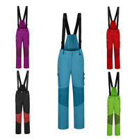New high quality outdoor sports women's ski pants straps windproof waterproof wear resistant warm colorful winter snow ski pants