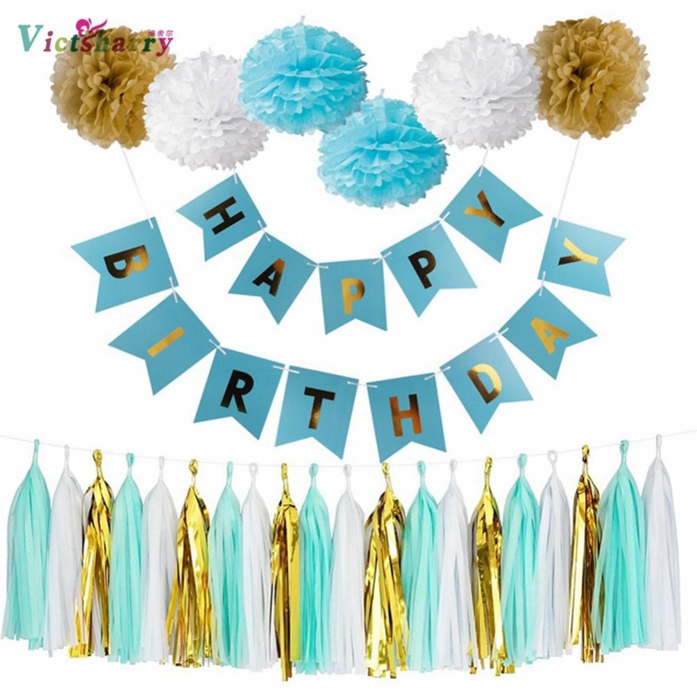 Verjaardagsfeestje decoratie Kit-Happy Birthday Swallowtail Banner, 3 - Feestversiering en feestartikelen