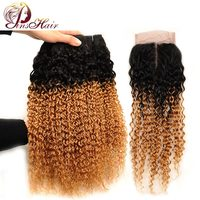 Pinshair Jerry Curl Human Hair With Closure Ombre 1B 27 Mongolian Hair 3 Bundles With Closure Honey Blonde Pre Colored Non Remy