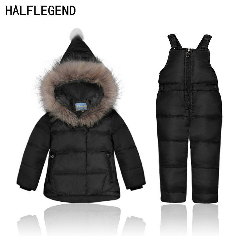 2017 New Baby Girls Parka Girl Winter Duck Down Coat With Fur Hooded Thickening Warm Jacket+Pants Down Jacket Set For Girl 2017 kids jacket winter for girl and coats duck down girls fluffy fur hooded jackets waterproof outwear parkas coat windproof