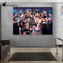 1 piece canvas painting john cena the rock boxing champion posters and prints for living room XA-1858D