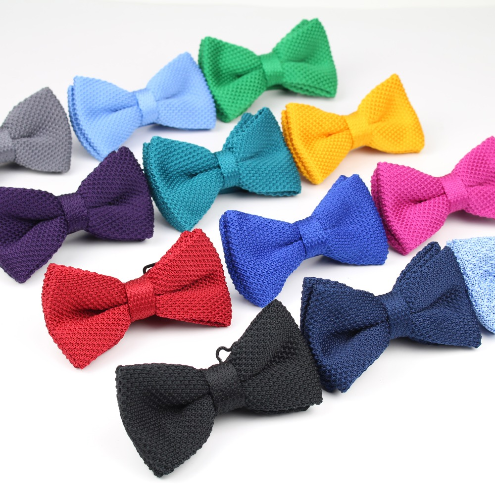 New Style Men Women Soild Color Knit Bowtie Adjustable Double Deck Butterfly Bowties Designer Knitting Dress Knitted Bow Tie