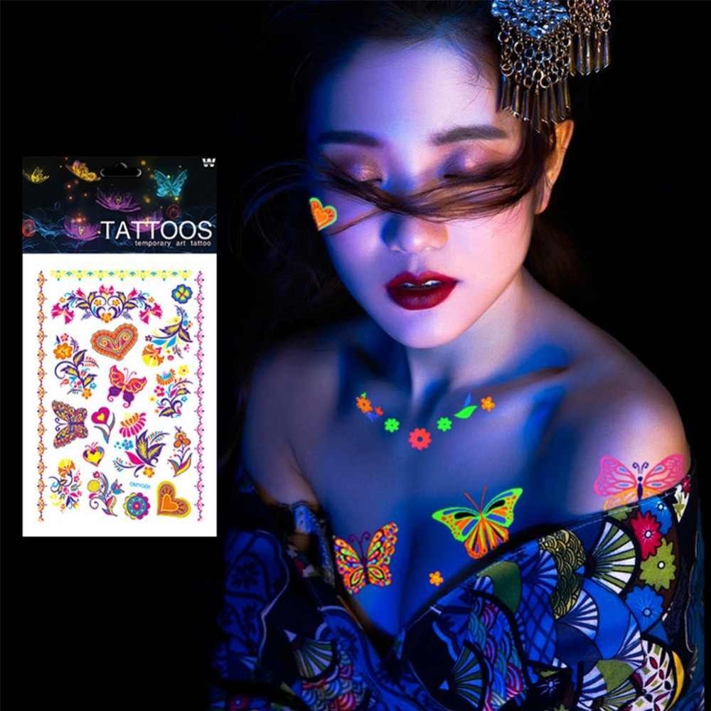 1 Copriletto Luminoso Tatuaggi Temporanei Adesivi Glow In The Dark Fluorescente Tatuaggio Farfalla Impermeabile per Viso Body Art #250133