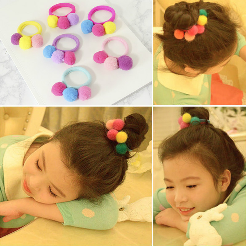 Cute Children's Pompom Elastic Hair Bands For Women Colorful Toddler Girl Hair Accessories Kids Rubber Band Ponytail Holders